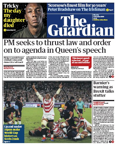 The Guardian Newspaper Front Page (UK) for 14 October 2019