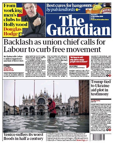 The Guardian Newspaper Front Page (UK) for 14 November 2019