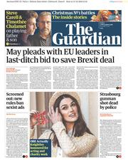 The Guardian (UK) Newspaper Front Page for 14 December 2018