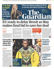 The Guardian (UK) Newspaper Front Page for 14 January 2019