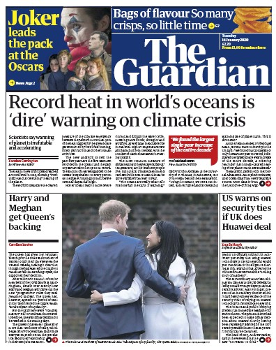 The Guardian Newspaper Front Page (UK) for 14 January 2020