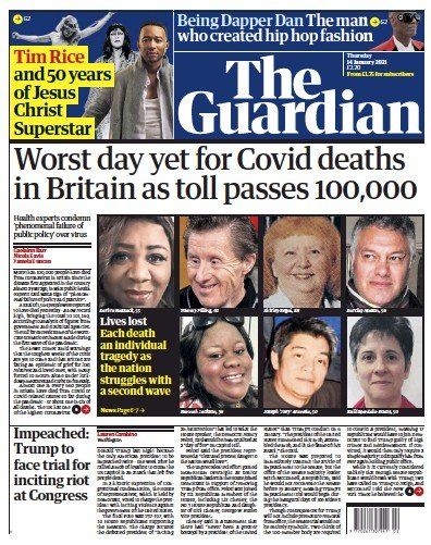The Guardian Newspaper Front Page (UK) for 14 January 2021