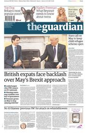 The Guardian (UK) Newspaper Front Page for 14 February 2017