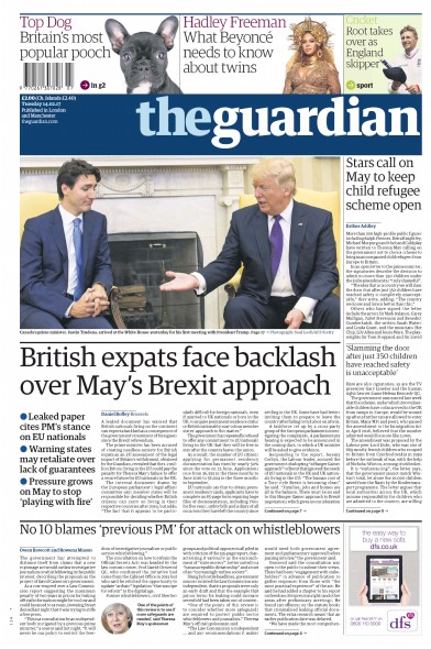 The Guardian Newspaper Front Page (UK) for 14 February 2017