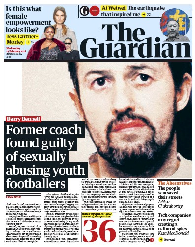 The Guardian Newspaper Front Page (UK) for 14 February 2018