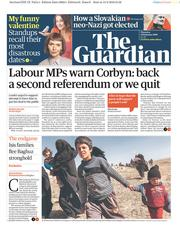 The Guardian () Newspaper Front Page for 14 February 2019