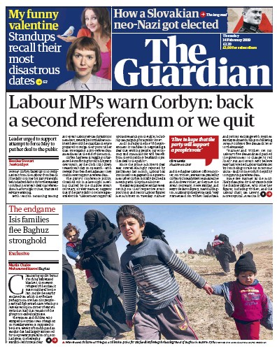 The Guardian Newspaper Front Page (UK) for 14 February 2019
