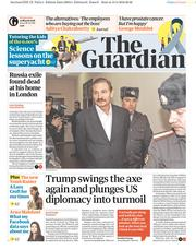 The Guardian (UK) Newspaper Front Page for 14 March 2018