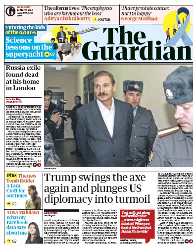 The Guardian Newspaper Front Page (UK) for 14 March 2018