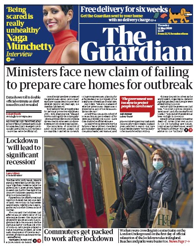 The Guardian Newspaper Front Page (UK) for 14 May 2020