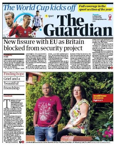 The Guardian Newspaper Front Page (UK) for 14 June 2018