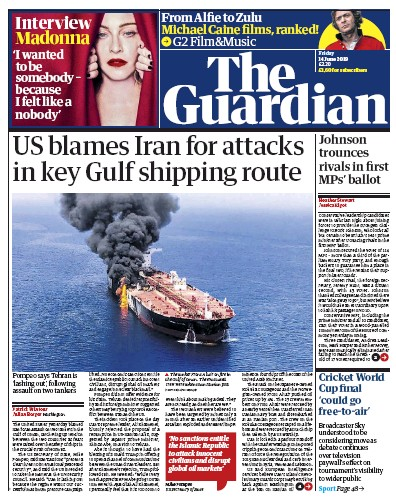 The Guardian Newspaper Front Page (UK) for 14 June 2019