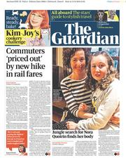 The Guardian () Newspaper Front Page for 14 August 2019