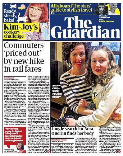 The Guardian Newspaper Front Page (UK) for 14 August 2019