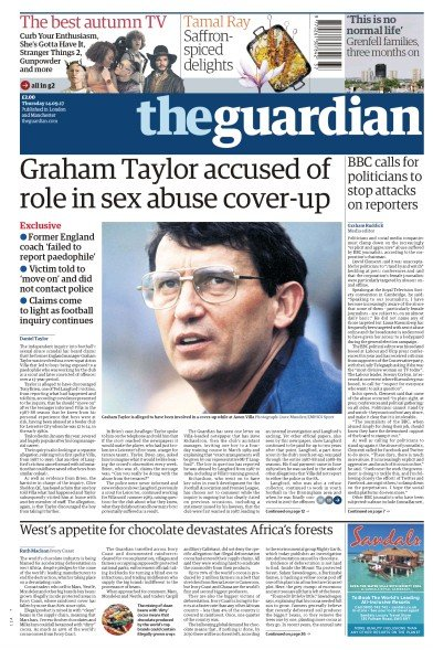 The Guardian Newspaper Front Page (UK) for 14 September 2017