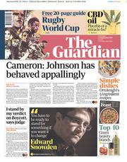 The Guardian (UK) Newspaper Front Page for 14 September 2019