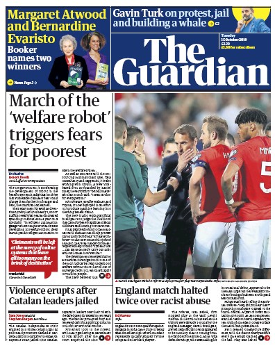 The Guardian Newspaper Front Page (UK) for 15 October 2019