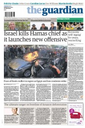 The Guardian () Newspaper Front Page for 15 November 2012