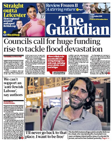 The Guardian Newspaper Front Page (UK) for 15 November 2019