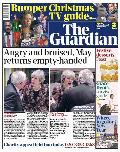 The Guardian Newspaper Front Page (UK) for 15 December 2018