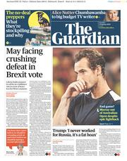 The Guardian (UK) Newspaper Front Page for 15 January 2019
