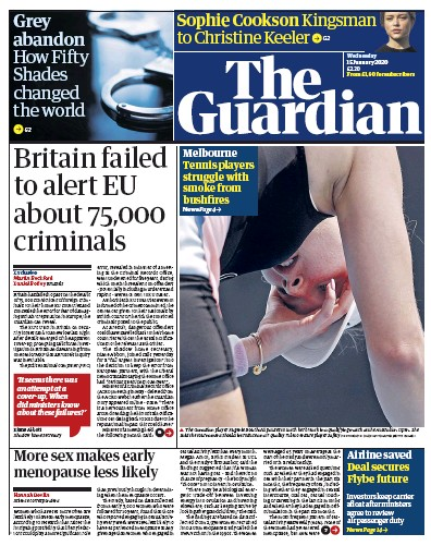 The Guardian Newspaper Front Page (UK) for 15 January 2020