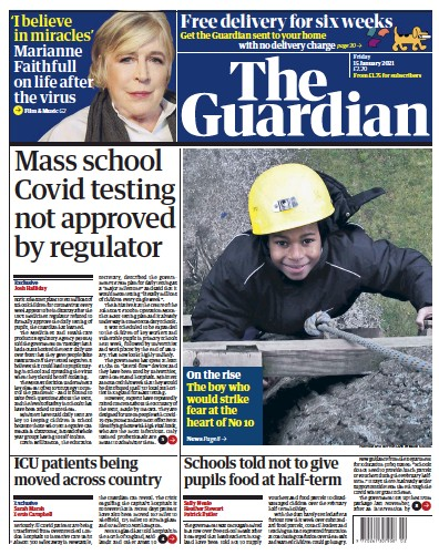 The Guardian Newspaper Front Page (UK) for 15 January 2021