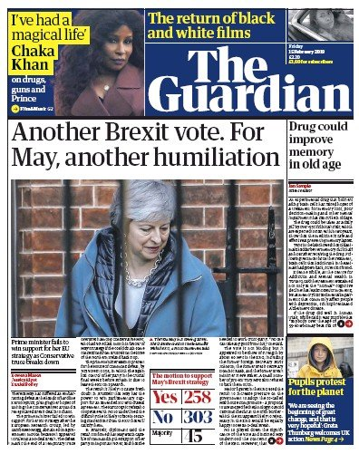 The Guardian Newspaper Front Page (UK) for 15 February 2019