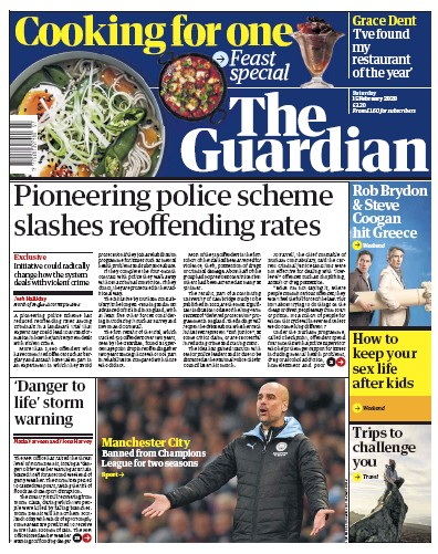 The Guardian Newspaper Front Page (UK) for 15 February 2020
