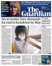 The Guardian front page for 15 February 2021
