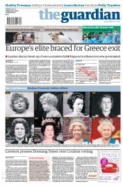 The Guardian () Newspaper Front Page for 15 May 2012