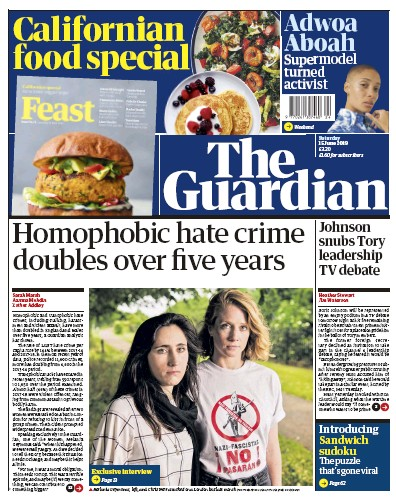 The Guardian Newspaper Front Page (UK) for 15 June 2019