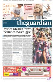 The Guardian (UK) Newspaper Front Page for 15 July 2017