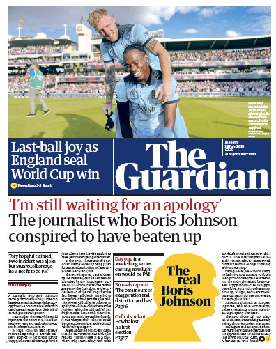 The Guardian Newspaper Front Page (UK) for 15 July 2019