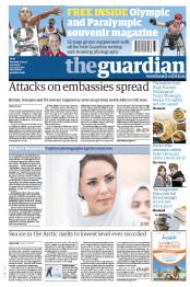 The Guardian Newspaper Front Page (UK) for 15 September 2012