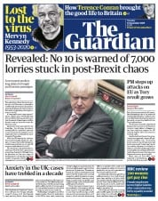 The Guardian front page for 15 September 2020