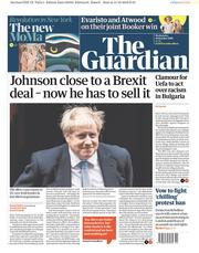 The Guardian () Newspaper Front Page for 16 October 2019