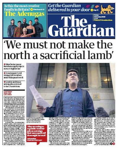 The Guardian Newspaper Front Page (UK) for 16 October 2020