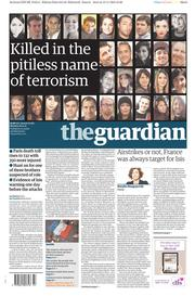 The Guardian (UK) Newspaper Front Page for 16 November 2015