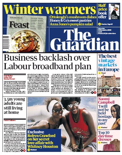 The Guardian Newspaper Front Page (UK) for 16 November 2019