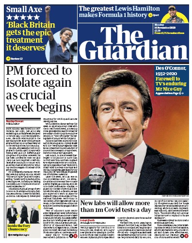 The Guardian Newspaper Front Page (UK) for 16 November 2020