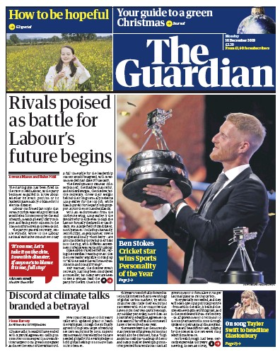 The Guardian Newspaper Front Page (UK) for 16 December 2019