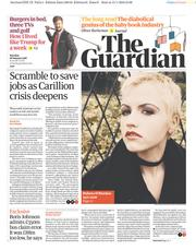 The Guardian (UK) Newspaper Front Page for 16 January 2018