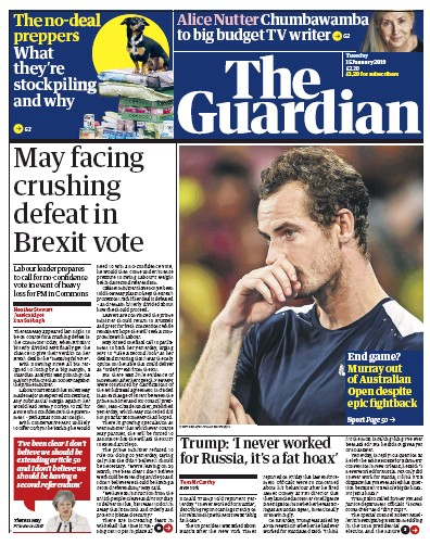 The Guardian Newspaper Front Page (UK) for 16 January 2019