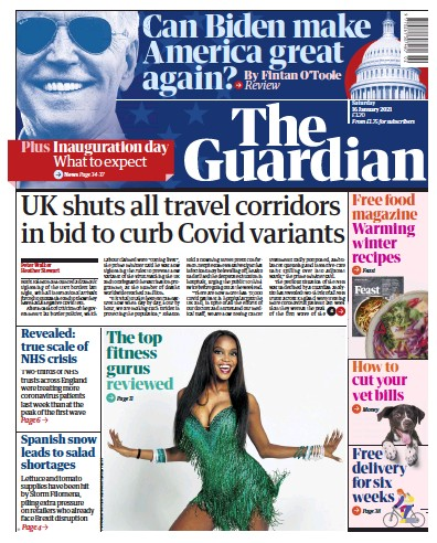 The Guardian Newspaper Front Page (UK) for 16 January 2021