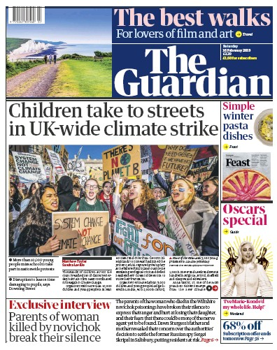 The Guardian Newspaper Front Page (UK) for 16 February 2019