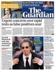The Guardian front page for 16 April 2021