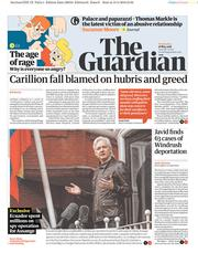 The Guardian (UK) Newspaper Front Page for 16 May 2018