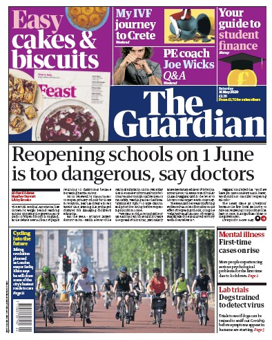 The Guardian Newspaper Front Page (UK) for 16 May 2020