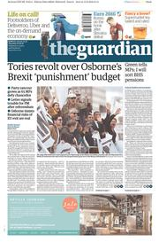 The Guardian () Newspaper Front Page for 16 June 2016